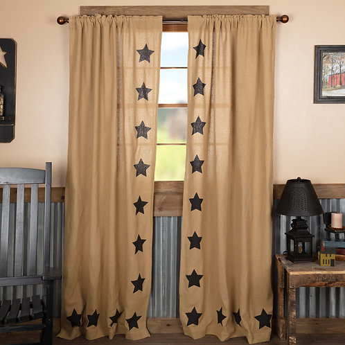 BURLAP W/BLACK STENCIL STARS PANEL CURTAIN SET OF 2 84X40