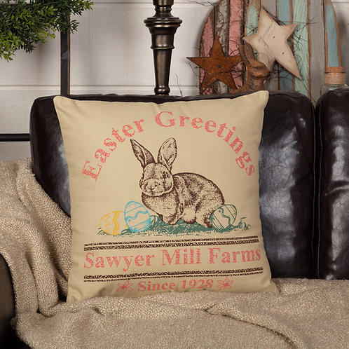 SAWYER MILL EASTER GREETINGS BUNNY PILLOW 18X18