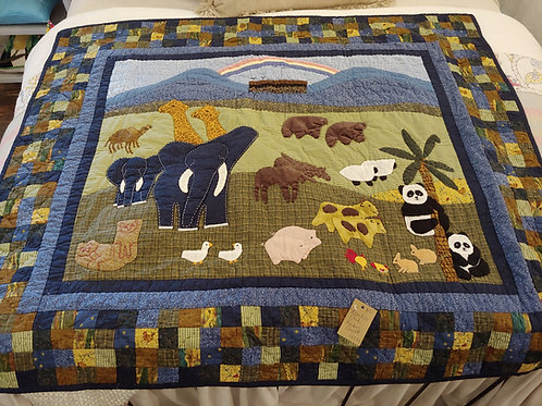 APPLIQUED NOAH'S ARK QUILT WITH POSTAGE STAMP BORDER(1 OF 3)