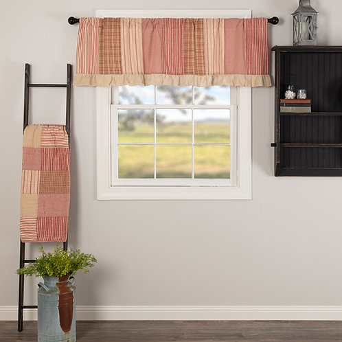 SAWYER MILL RED PATCHWORK VALANCE CURTAIN