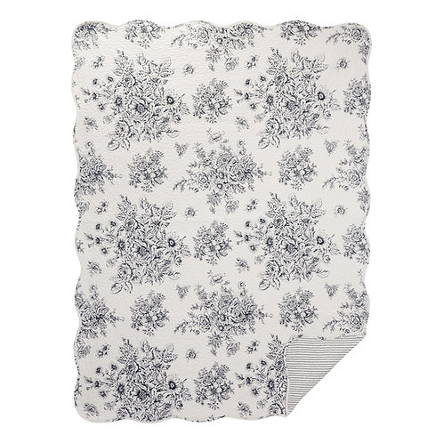 BLACK TOILE QUILTED THROW