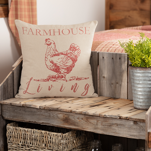 SAWYER MILL RED FARMHOUSE LIVING HEN PILLOW