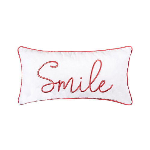 """""""SMILE"""" EMBROIDERED PILLOW"""