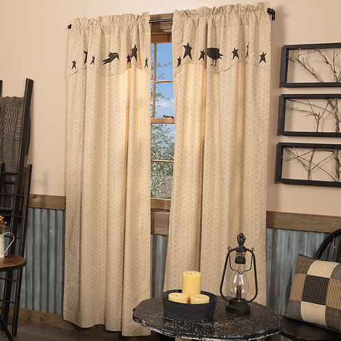 KETTLE GROVE PANEL CURTAIN WITH ATTACHED APPLIQUE CROW AND STAR VALANCE SET OF 2