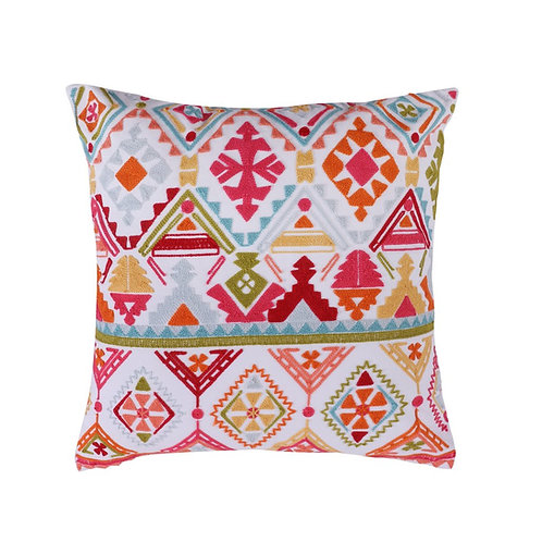LILLY CREWEL STITCH MULTI-COLOR PILLOW