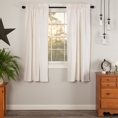 SIMPLE LIFE FLAX ANTIQUE WHITE SHORT PANEL CURTAIN SET OF 2 63X36