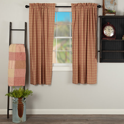 SAWYER MILL RED PLAID SHORT PANEL CURTAIN SET OF 2 63X36