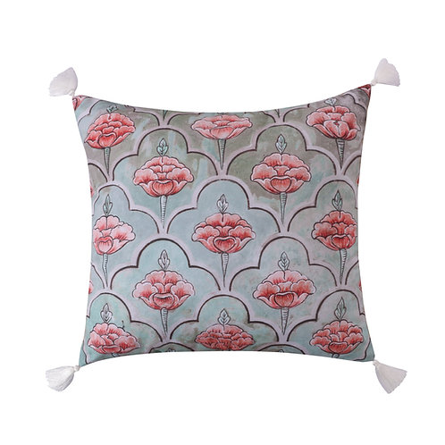 SPRUCE CORAL PRINTED TASSELS PILLOW