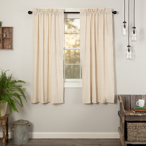 SIMPLE LIFE FLAX NATURAL SHORT PANEL CURTAIN SET