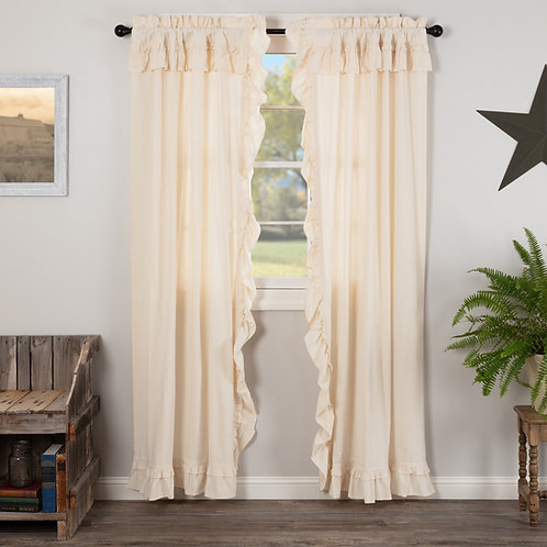 MUSLIN RUFFLED UNBLEACHED NATURAL PANEL CURTAIN SET OF 2 84X40
