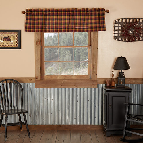 HERITAGE FARMS PRIMITIVE CHECK VALANCE CURTAIN