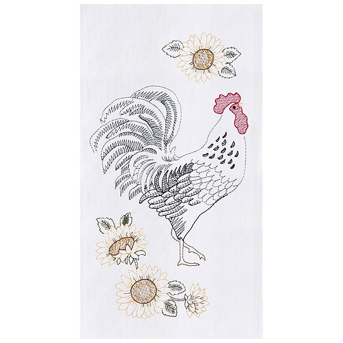 ROOSTER & SUNFLOWERS EMBROIDERED FLOUR SACK TOWEL