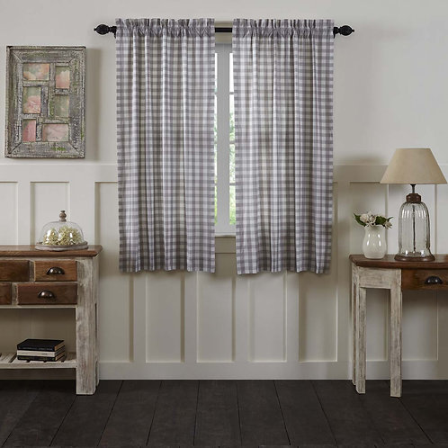 ANNIE BUFFALO CHECK SHORT PANEL CURTAIN SET 63X36