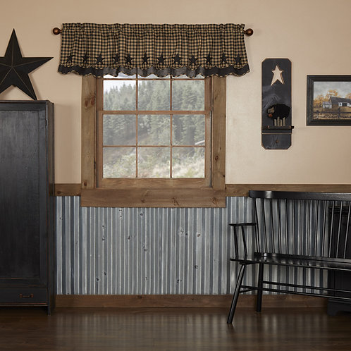 BLACK STAR SCALLOPED LAYERED VALANCE CURTAIN 16X72