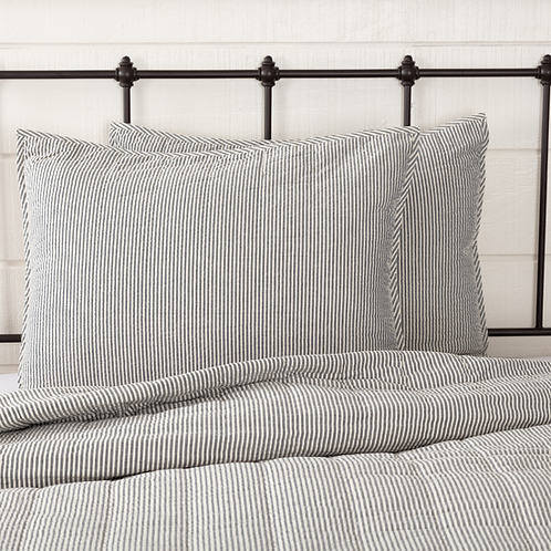 HATTERAS SEERSUCKER BLUE TICKING STRIPE SHAM