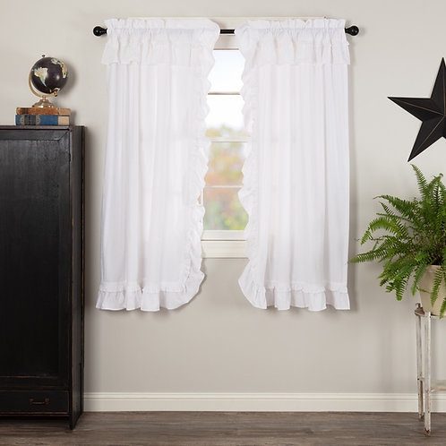 MUSLIN RUFFLED BLEACHED WHITE SHORT PANEL CURTAIN SET OF 2 63X36