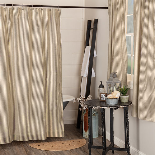 SAWYER MILL CHARCOAL TICKING STRIPE SHOWER CURTAIN 72X72