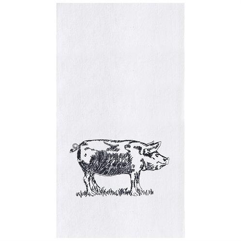 BARNYARD PIG EMBROIDERED FLOUR SACK TOWEL