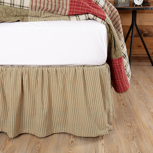 PRAIRIE WINDS GREEN TICKING STRIPE BED SKIRT