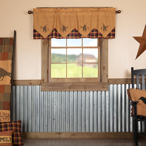 HERITAGE FARMS PRIMITIVE STAR AND PIP VALANCE CURTAIN
