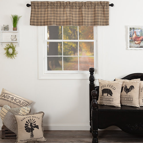 SAWYER MILL CHARCOAL PLAID VALANCE CURTAIN