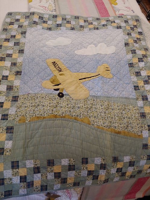 AIRPLANE QUILT WITH POSTAGE STAMP BORDER (LAST ONE)