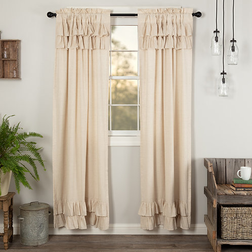 SIMPLE LIFE FLAX NATURAL RUFFLED PANEL CURTAIN SET OF 2 84X40