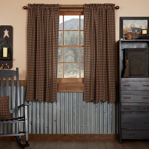 NAVY CHECK SCALLOPED SHORT PANEL CURTAIN SET OF 2 63X36