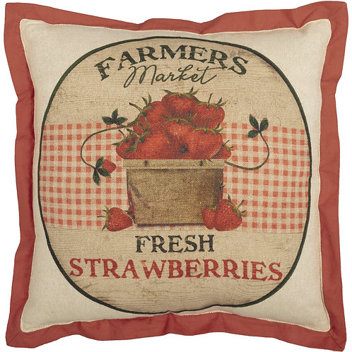 FARMER'S MARKET FRESH STRAWBERRIES PILLOW 12X12