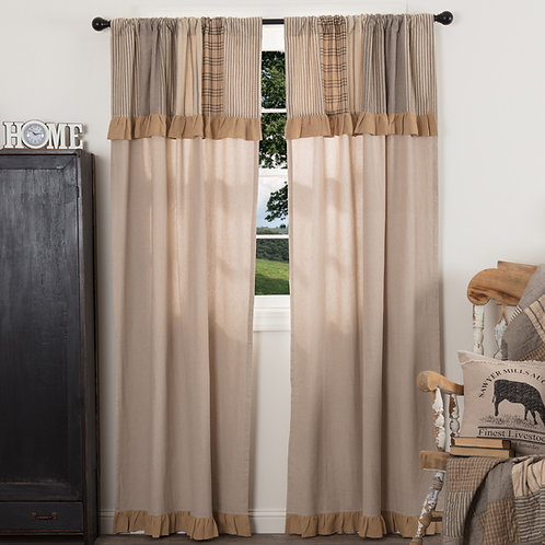 SAWYER MILL CHARCOAL PANEL CURTAIN WITH ATTACHED VALANCE SET OF 2 84X40