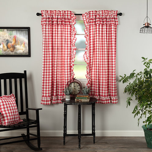 ANNIE BUFFALO RED CHECK RUFFLED SHORT PANEL CURTAIN SET OF 2 63X36