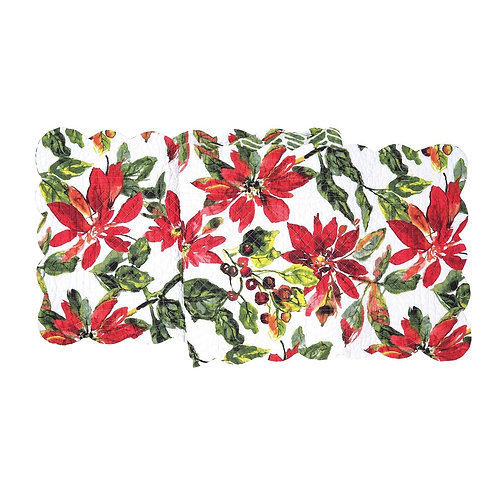 POINSETTIA BERRIES QUILTED TABLE RUNNER