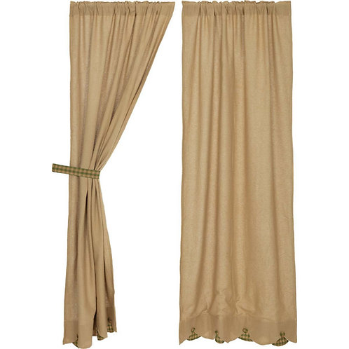 BURLAP W/GREEN CHECK SCALLOPED PANEL CURTAIN SET OF 2 84X40