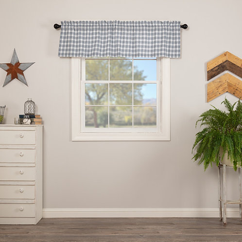 SAWYER MILL BLUE PLAID VALANCE CURTAIN