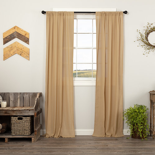 TOBACCO CLOTH KHAKI PANEL CURTAIN FRINGED SET OF 2 84X40