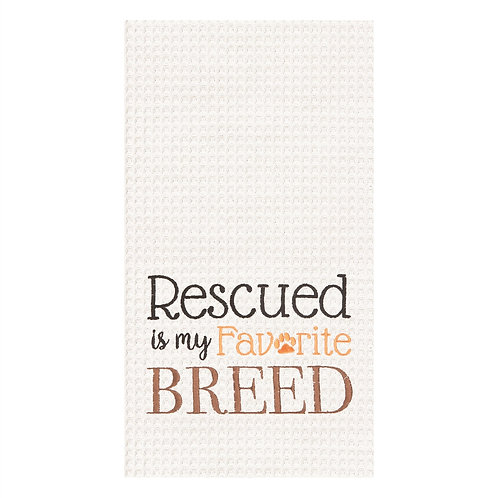 """""""Rescued..."""" EMBROIDERED WAFFLE WEAVE KITCHEN TOWEL"""
