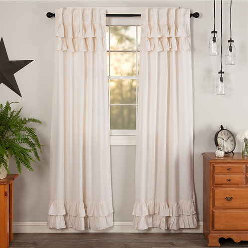 SIMPLE LIFE FLAX ANTIQUE WHITE RUFFLED PANEL CURTAIN SET OF 2 84X40