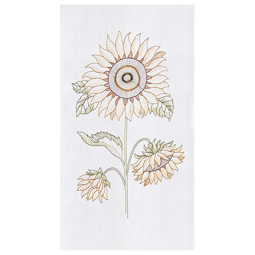 SUNFLOWER EMBROIDERED FLOUR SACK TOWEL