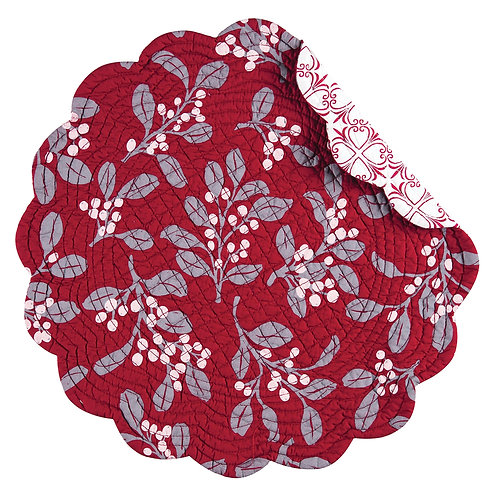 SILVER MISTLETOE QUILTED PLACEMAT