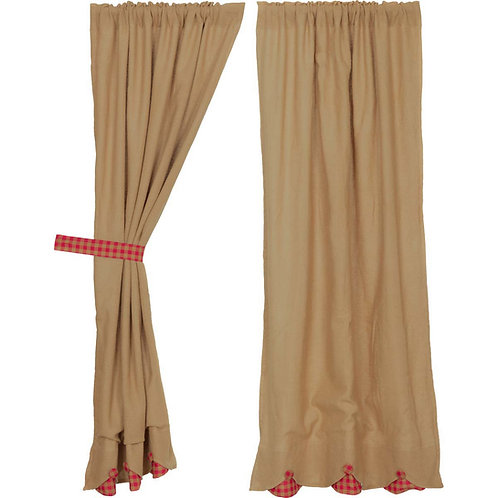 BURLAP W/RED CHECK SCALLOPED SHORT PANEL CURTAIN SET OF 2 63X36