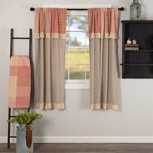 SAWYER MILL RED SHORT PANEL CURTAIN WITH ATTACHED VALANCE SET OF 2 63X36
