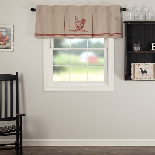 SAWYER MILL RED CHICKEN VALANCE CURTAIN PLEATED
