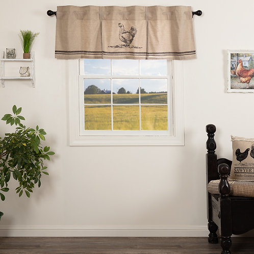 SAWYER MILL CHARCOAL CHICKEN VALANCE CURTAIN PLEATED