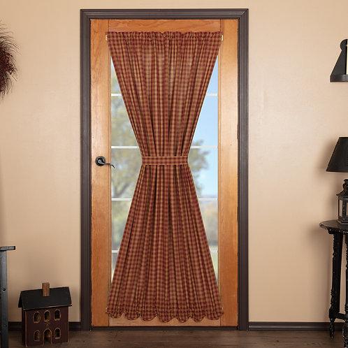 BURGUNDY CHECK SCALLOPED DOOR PANEL 72X40