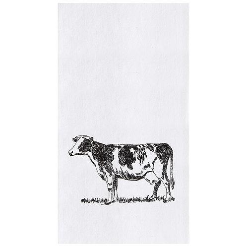 BARNYARD COW EMBROIDERED FLOUR SACK TOWEL
