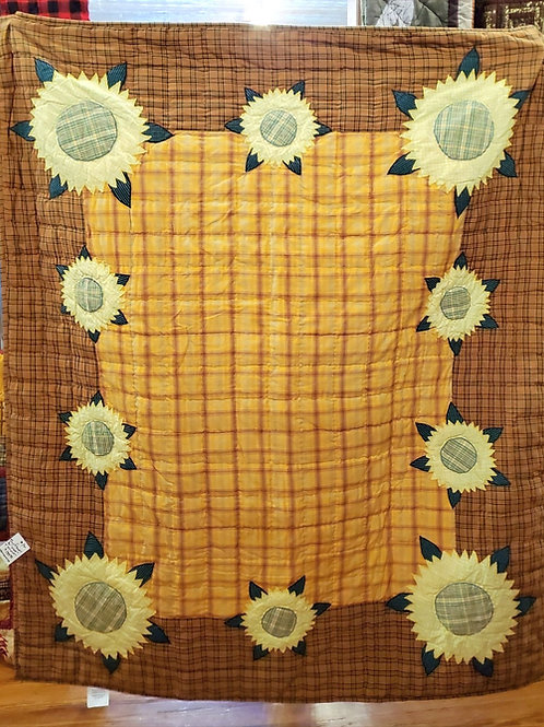 SUNFLOWER QUILTED APPLIQUED THROW