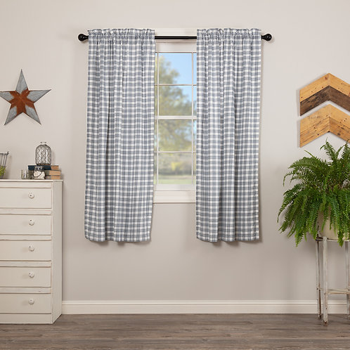 SAWYER MILL BLUE PLAID SHORT PANEL CURTAIN SET OF 2 63X36