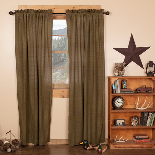 TEA CABIN GREEN PLAID PANEL CURTAIN SET OF 2 84X40