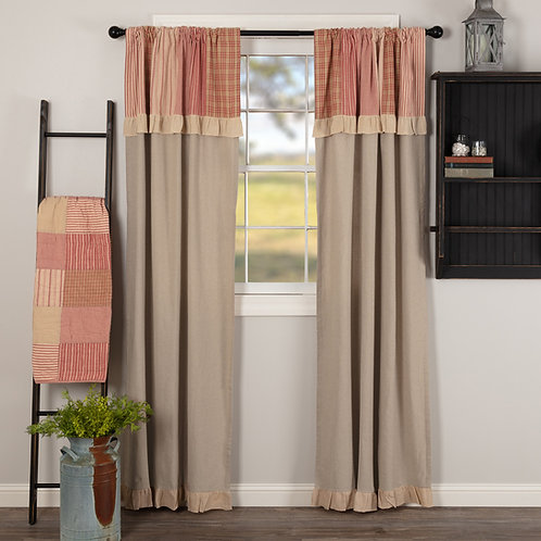 SAWYER MILL RED PANEL CURTAIN WITH ATTACHED PATCHWORK VALANCE SET OF 2 84X40
