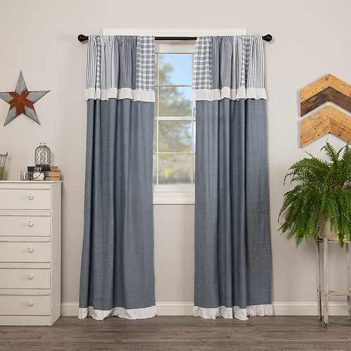 SAWYER MILL BLUE PANEL CURTAIN WITH ATTACHED PATCHWORK VALANCE SET OF 2 84X40